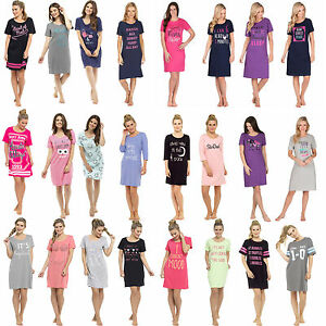 af63c52f7b Image is loading Ladies-Cotton-Nightdress-Nightie-Nightshirt-T-Shirt -Pyjamas-