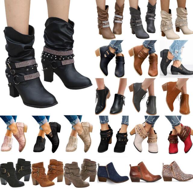 Damen Stiefeletten Stiefel Blockabsatz Ankle Boots Schlupfstiefel Pumps Schuhes
