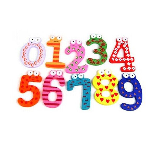 Funky Fun Colorful Magnetic Numbers Wooden Fridge Magnets Kids Educational  U6O6