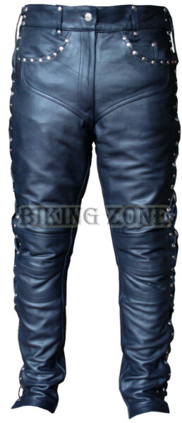 Womens Lederhose und Nieten Spitze schwarzer Damen Mode