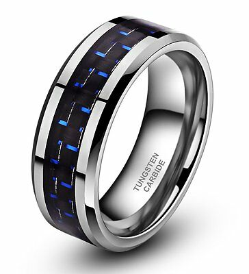 8mm Tungsten Carbide Blue Black Carbon Fiber Ring Men PROMIS Wedding Band Silver