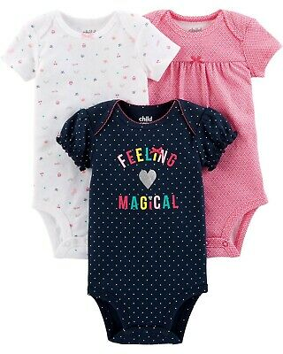 Newborn to 6lbs  Child Of Mine By Carter/'s Long Sleeve White Bodysuits