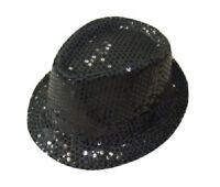 Black Unisex Fancy Dress Gangster Hat Fedora Trilby Sequin Cap Hats Dance Party