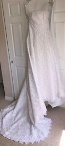 NEW-David-s-Bridal-Wedding-Dress-Size-10-Strapless-Lace-W-Pearls-And-Sequin