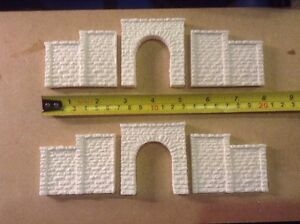 2 Single Track Tunnel & 4 Walls-n Scale Gauge Rough Stone Unpainted,stepped Wall Diversifié Dans L'Emballage