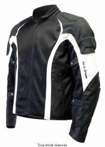 Blouson-Moto-Homme-Noir-blanc-Tissu-Ete-S-Line