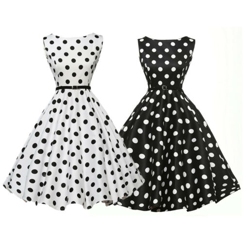 UK Vintage Polka Dot 50s 60s ROCKABILLY Swing Pinup Housewife Dress 17 Style
