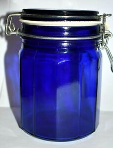 Vintage-Cobalt-Blue-Glass-Canister-Twelve-Panel-Sided-Bail-Wire-And-Glass-Lid