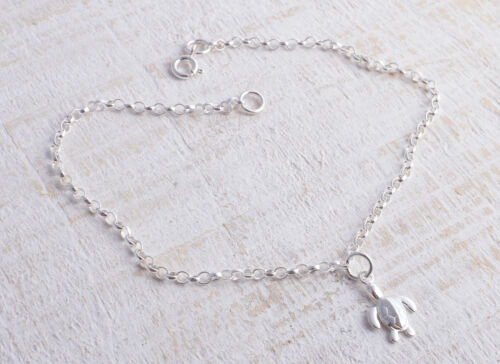 STERLING SILVER TURTLE CHARM CHAIN BRACELET ANKLE CHAIN ANKLET 925