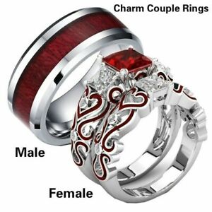 His-amp-Hers-Lover-Stainless-Steel-Red-CZ-Couple-Engagement-Wedding-Band-Ring-Set