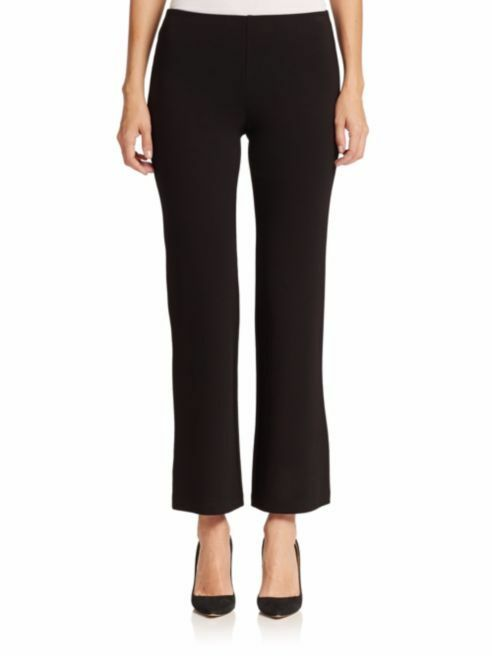 NEW EILEEN FISHER BLK VISCOSE STRETCH PONTE STRAIGHT PANT ELASTIC WAIST S  208
