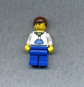 Figur Puppenhaus Lego Duplo Mann weiß grün blau braune Haare