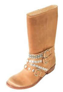 Genuine-Ash-Cult-Brand-Women-039-s-Boots-with-Leather-Soles-Buckles-and-Ornaments