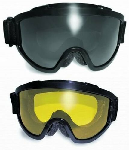 2 Anti-Fog Motorcycle Goggles-Fit Over RX Prescription Glasses-SMOKED /& YELLOW w