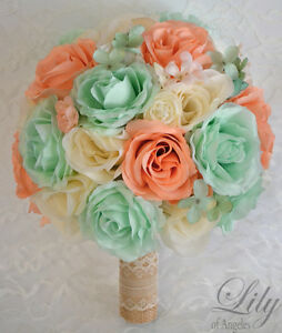 17 piece package silk flower wedding bridal bouquet mint peach spa image is loading 17 piece package silk flower wedding bridal bouquet mightylinksfo Images