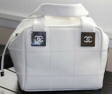 SALE !!!! CHANEL White cavier Square Boston Stiched tote