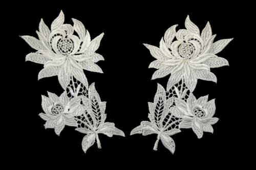 Lily Off-White Floral Guipure Venice Lace Collar Neckline Applique Sell by Pair