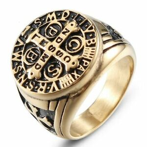 b363bd5da85 CSPB Saint Benedict Medal Ring Men Stainless steel Catholic Church ...