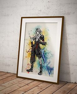 Image Is Loading Final Fantasy Tidus Poster Watercolor Wall Decor