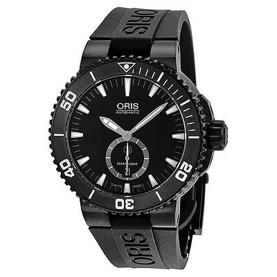 Oris Aquis Diver Automatic Black Dial Titanium Black Rubber Mens Watch