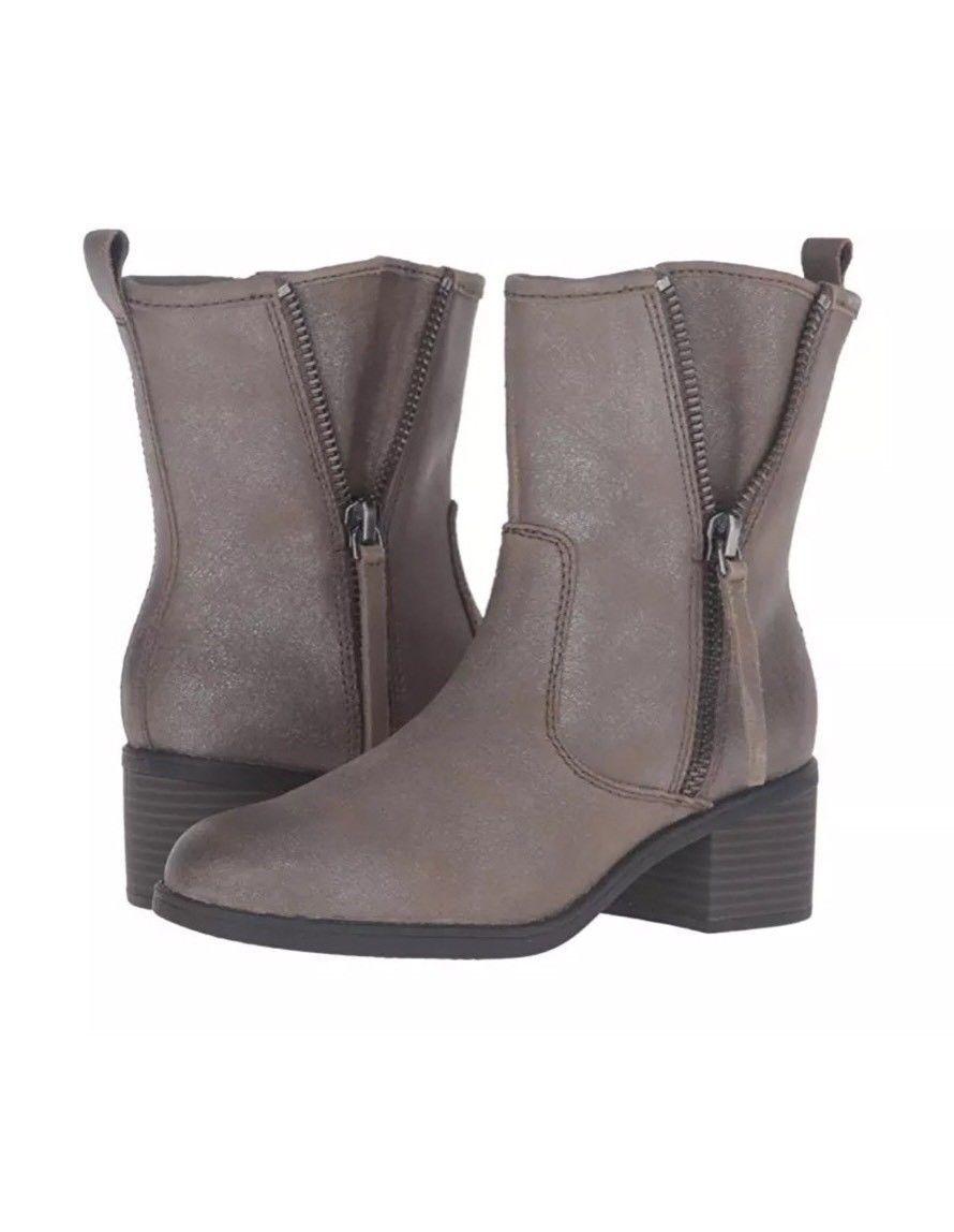 Clarks Nevella Devon Leather Zipper démarrageies Ankle bottes Dark Taupe Taille 8.5