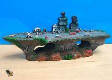 Aircraft Carrier Shipwreck Battle Ship Aquarium Ornament Fish Tank Cave Hide