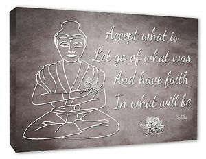 buddha wall picture grey canvas print accept what is quote a2 a3