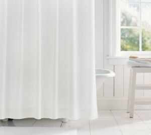 Image Is Loading Clearance Plain White Fabric Shower Curtain 2m Long