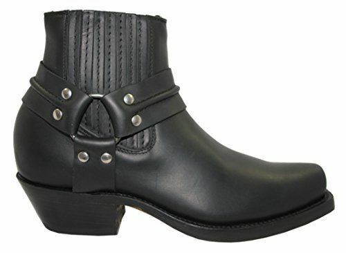 Grinders Harness Lo Black Mens Ladies Cowboy Western High Leather Biker Leather High Boots ec09ea
