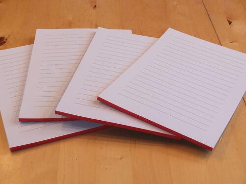 Schreibblock Rot verleimt liniert 50 Blatt DIN A5 20 Notizblöcke,Notizblock