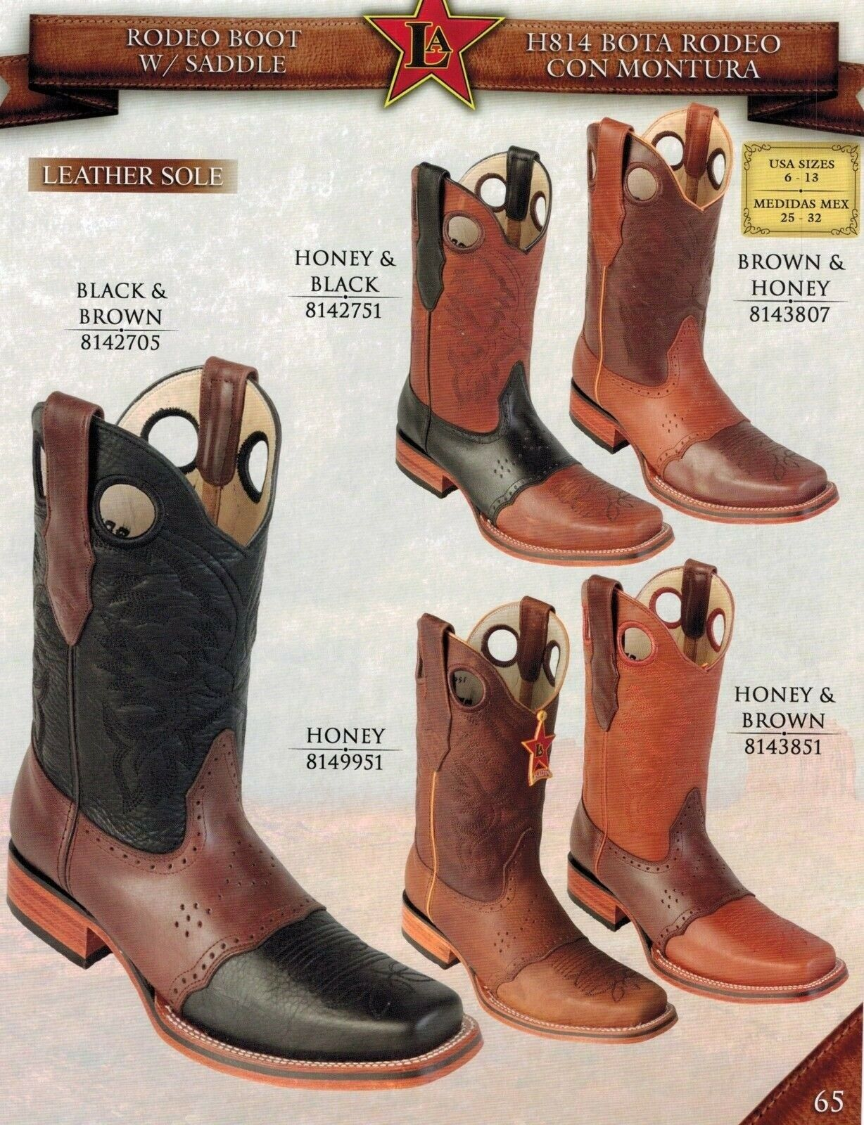 Los Altos Men's Rodeo w  Saddle Pull On Leather Cowboy Western Boots