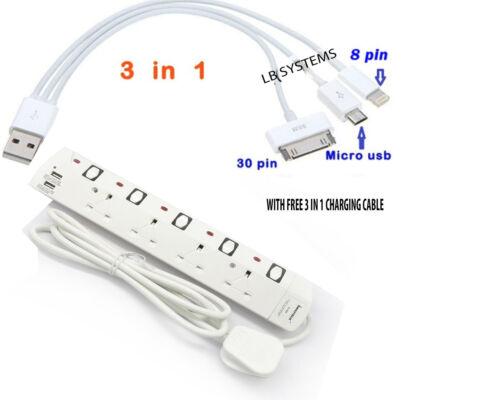 4 way Extension 2 M conduire avec 2 Way USB port de charge avec 3 en 1 Câble de charge