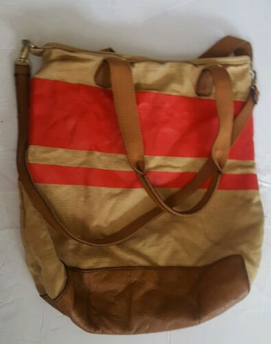 GAP Red & Tan Tote Canvas & Leather Purse Bag Sack