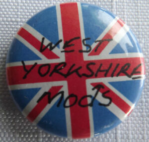 WEST-YORKSHIRE-MODS-Union-Jack-Old-OG-Vtg-1980-s-Button-Pin-Badge-25mm-1-034-mod