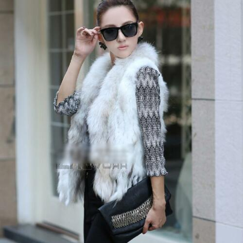 GENUINE Classical Knitted Rabbit Fur Vest Gilet with Raccoon Fur Collar Lady