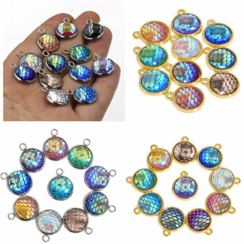 Lot 10PCS Resin Metal Mermaid Fish Scale Charms Pendant DIY 12mm