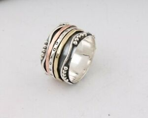 925-Solid-Sterling-Silver-Handmade-Designer-Spinner-Ring-Band-Size-4-US-TO-14-US