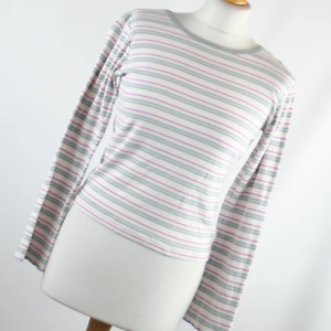 Cherokee-Womens-Size-12-White-Striped-Cotton-Basic-Tee