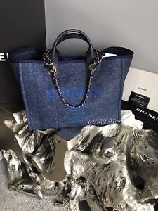 590f567d47f4 NWT CHANEL NAVY BLUE DENIM DEAUVILLE TOTE GOLD TWEED BOUCLE GST ...