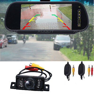 "Wireless Reverse Backup Camera 7"" LCD Mirror Monitor Car Rear View Night Vision"