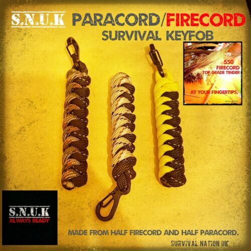 1x FIRECORD 550 PARACORD SURVIVAL KEYFOB FIRE making tinder cord.