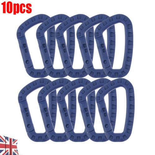 10pcs UK Carabiner D-Ring Plastic Keychain Clip Snap Hook Carabiner Camping Blue