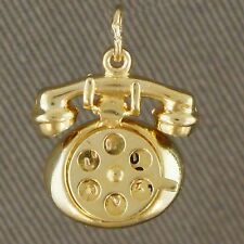 Retro, Solid Yellow Gold, Articulated, 'Antique Telephone' Charm, Estate Pendant