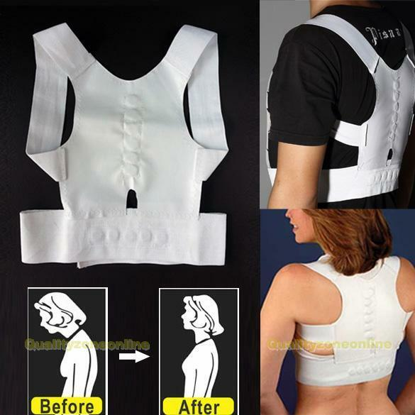 Adjustable Therapy Back Support Brace Belt Band Posture Shoulder Corrector New