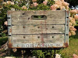 Vintage-Primitive-1956-BORDEN-039-S-Milk-Dairy-Wood-Wooden-Metal-Crate-Box