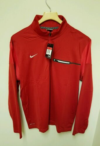 NEW NIKE FOOTBALL LONG SLEEVE SHIRT HALF ZIP SIZE MEDIUM RED DRI-FIT 746960 658