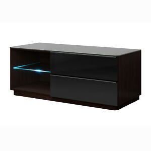 TV-Kommode-Togos-WM-klein-Unterteil-Lowboard-Glas-schwarz-wenge-inkl-LED