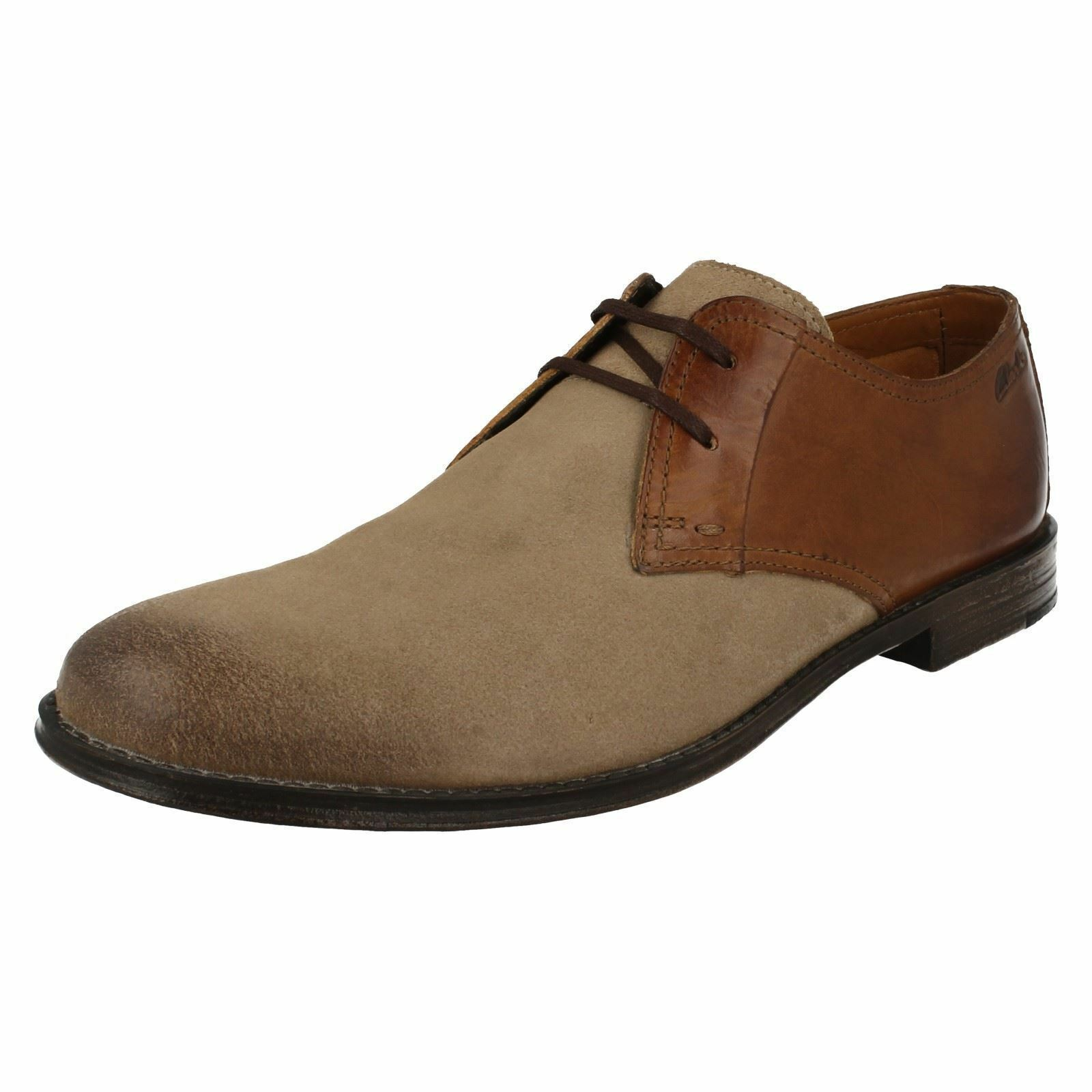 Mens Clarks Hawkley Walk Wolf Combi Leather Smart Lace Up Shoes G Fitting