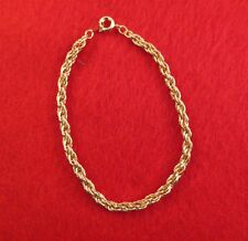 """LOT OF 10 PCS 14KT YELLOW GOLD EP 7"""" 3.5MM FLEXIBLE ROPE CHAIN BRACELET"""