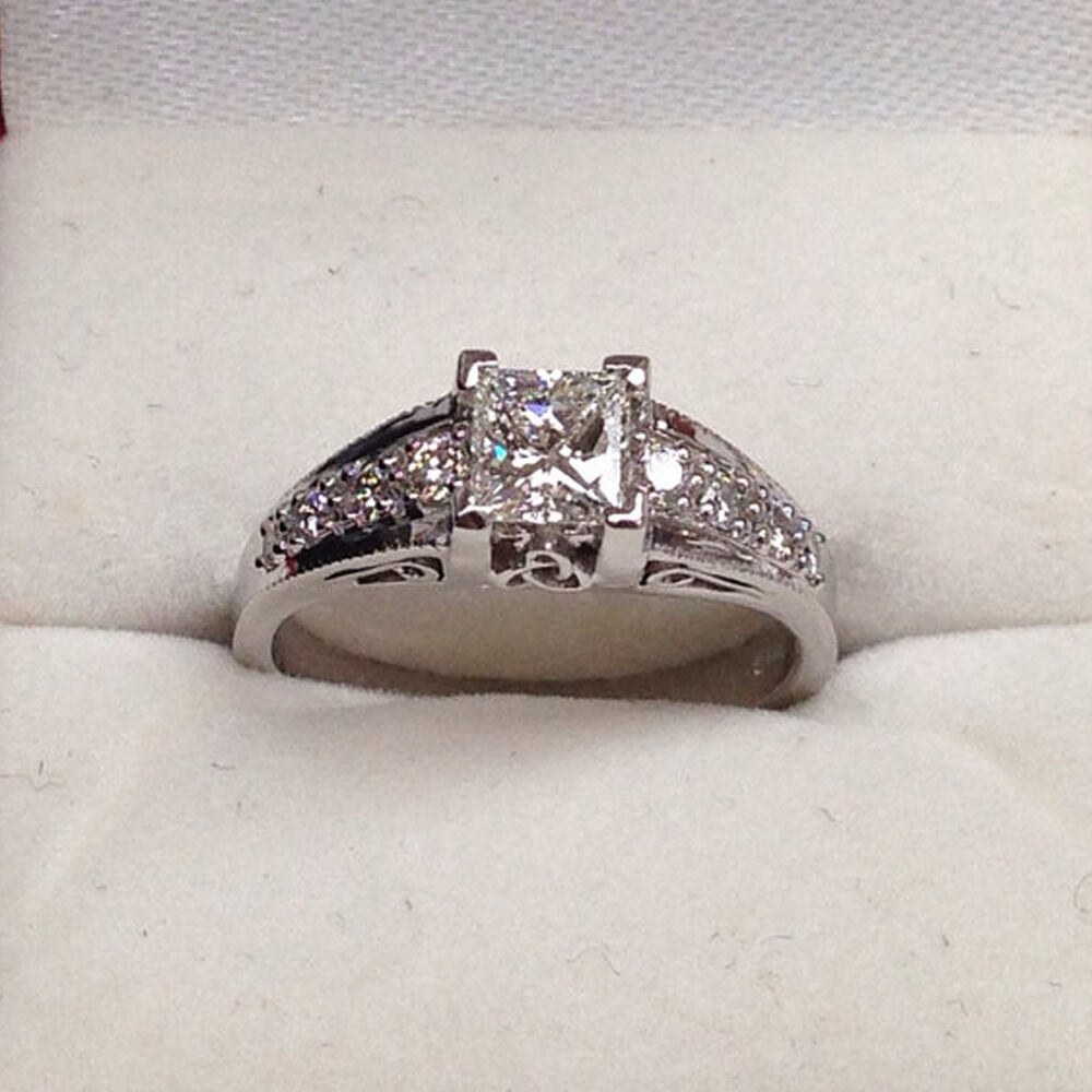 14Kt White gold Solid 1.39 Ct Diamond Engagement Rings Princess Cut size 6 7